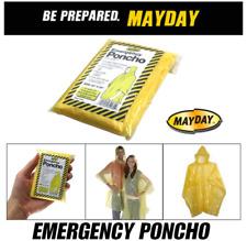 1 NEW Emergency Hooded Rain Poncho Adult Reuseable Camping Hiking Waterproof