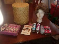 Vintage 60s Wig Head Hat Box & Synthetic Mode Wig. & more