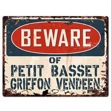 Ppdg0150 Beware of Petit Basset Griffon Vendeen Plate Rustic Tin Chic Sign
