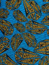 African Textiles Fabrics Real Wax Blue Yellow Black Triangle Designs rw171102