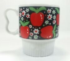 Vtg 70s Stackable Mug Red Apples Coffee Tea Cup Heart Handle Nevco Japan Teacher