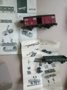 HO Fleischmann model train wagon open bolster car x2 1451 1470 vintage boxed EC!