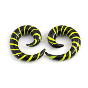 Black & Yellow Glass Tapers Stripe Spiral Set Of 2