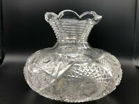 Vintage American Brilliant Period ABP Cut Crystal Fan Hobstar Art Glass Vase