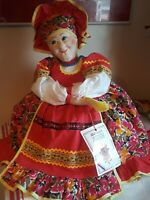 "VINTAGE Folk Art Cloth Doll and Tea Cozy Russian NEW WITH TAG Hand made 20""tall"