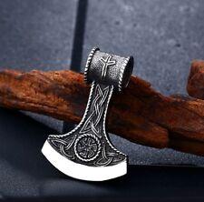 Edelstahl Anhänger Slawische Axt mit Schwarzer Sonnen Rune Odin Thor incl. Kette