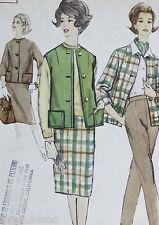 Vtg 1950s Simplicity Pattern 4098 Uncut Jacket Suit  Pleats Skirt Pants Sleevele