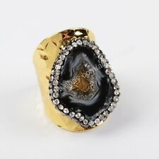 1Pcs CZ Paved Freeform Black Agate Druzy Slice Gold Plated Band Open Ring HJA760