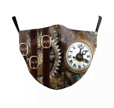 Face Mask Steampunk Mechanical Gauges Clocks Time Travel Reusable Washable