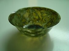 ANTIQUE CHINESE CARVED SPINACH GREEN JADE THIN TRANSLUCENT BOWL 2 15/16'' DIAM.