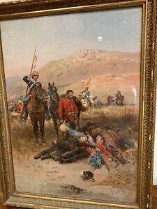 "Alphonse de Neuville 1882 Oleograph ""Last Sleep of the Brave"" published NFAA"