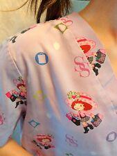 STRAWBERRY SHORTCAKE Scrub Top Womens MEDIUM Purple Shopping Short Sleeve