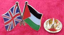 UK Union Jack Flag & Palestine Palestinian Friendship Lapel Hat Tie Pin Badge
