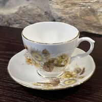 DUCHESS Bone China-ENGLAND-Yellow & Brown Gold Scalloped Edges Cup And Saucer