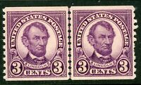 USA 1924 Lincoln 3¢ Rotary Perf 10 Horz Coil Line Pair Scott 600 MNH J6 ⭐⭐⭐⭐⭐