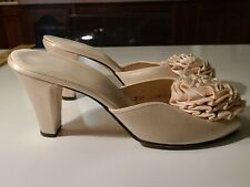 1960's Daniel Green Slippers Satin Peep Toe Boudoir Vintage Made Usa