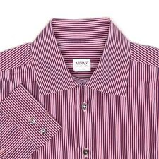 Armani Collezioni Mens Dress Shirt 16 Pink Blue Stripe Button Front Cotton Italy