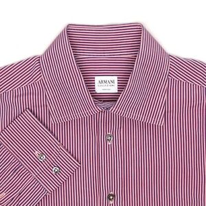 Armani Collezioni Mens Dress Shirt 16 Pink Blue Stripe Button Front Cotton Italy