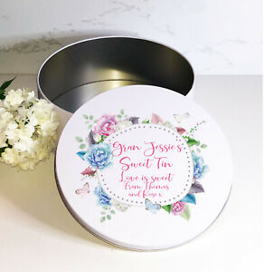 Flower Border, personalised, round white biscuit sweets cake, metal tin