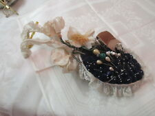 Vintage hand made Pin Cushion quilted blue velvet with glass & plastic Pins