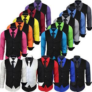 Herren-Hemd Slim-Fit+Weste+Krawatte SET Anzug Business Freizeit Hochzeit 44-HWK