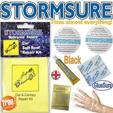 Black Soft Top Car Roof Convertible Repair Kit Includes Glue & Patches Stormsure