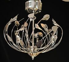 CHROME CRYSTAL CONTEMPORARY FLUSH LOW VOLTAGE CHANDELIER BUTTERFLIES FLOWERS