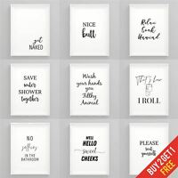 Bathroom Prints Black and White Funny Bathroom Wall Art Framed Pictures Toilet