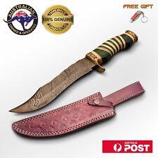 Handmade Damascus Steel Large Bowie Bush Hunting Knife - Engraved Brass Bone B3