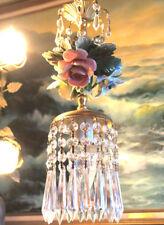 Porcelain Chandelier SWAG lamp Capodimonte Roses floral Brass Vintage Lighting