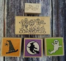 Lot 5 Halloween Wood Mounted Rubber Stamps Stampin' Up! Studio G Impression Obs