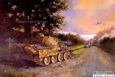 Military Art Print Enrst Barkmann German Panther Tank Normandy  damaged