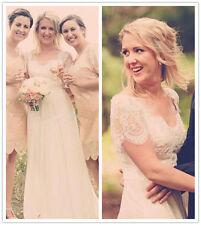 Boho Lace Beaded Sequins Cap Sleeves Chiffon Beach Wedding Dress Bridal Gowns