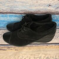 Rockport Emma $90 Women's Lace-Up Wedge Shoes Size 11 M Black Suede