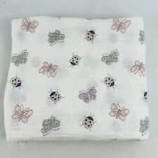 Aden & Anais Swaddling Blanket Pink Ladybug Butterfly Cotton 42x42