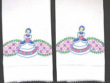 Pair SOUTHERN BELLE Hand Embroidered Pillowcases Victorian Lady Vintage Bedding