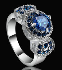 Size 7 Sapphire gem Round Engagement Ring Silver Rhodium Plated Fashion Party