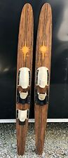 "Vintage Pair of Lake Region Golden Surfer 67"" Wood Water Skis One Slalom Ski Old"