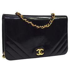 CHANEL CC Single Chain Shoulder Bag Purse Black Patent Leather RK14248