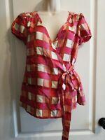 Banana Republic Multicolor Check Silk Wrap KimonoStyle Cap Sleeve Women's XS Top