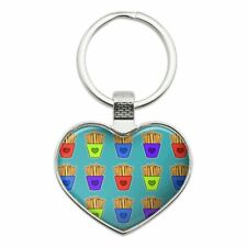 Colorful French Fries Pattern Heart Love Metal Keychain Key Chain Ring