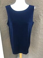 New Chico's Travelers Empress Navy Blue Reversible Tank Top Sz 3 = XL 16 18 NWT