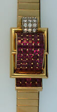 Vtg 1950s Breguet Diamond Ruby 18K Rose Gold Cocktail Bracelet Watch Ref 4166