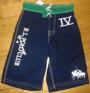 New Polo Ralph Lauren Boys Shorts Swim Trunks Blue Navy L 14 16 Dual Match
