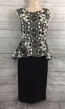 Black and White Floral Peplum Dress Medium Velvet Pattern Lace Back Pencil Skirt