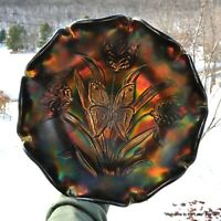 FENTON, CARNIVAL GLASS BOWL, LANDMARK COLLECTION, 1905-2005, BUTTERFLY & TULIP