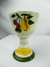 """Wine Goblet Pear Ceramic Hand Painted 6"""" H White Green"""