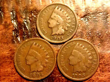 1903,1904,1905  Indian head  penny RELIC cent POST CIVIL WAR RARE US coin #878A