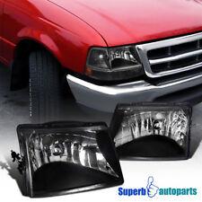 1998-2000 Ford Ranger Diamond Head Lights Lamps Black