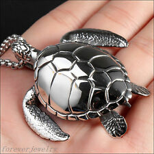 High Quality Sea Turtle Pendant Silver Stainless Steel Men's Necklace Free Chain